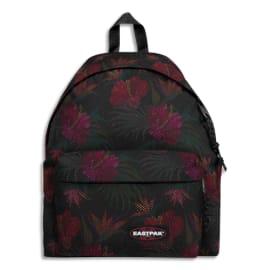 EASTPAK Sac à dos PADDED PAK 24L MESH BLACK HIBISCUS. Un compartiment. Coloris noir, motif hibiscus. photo du produit