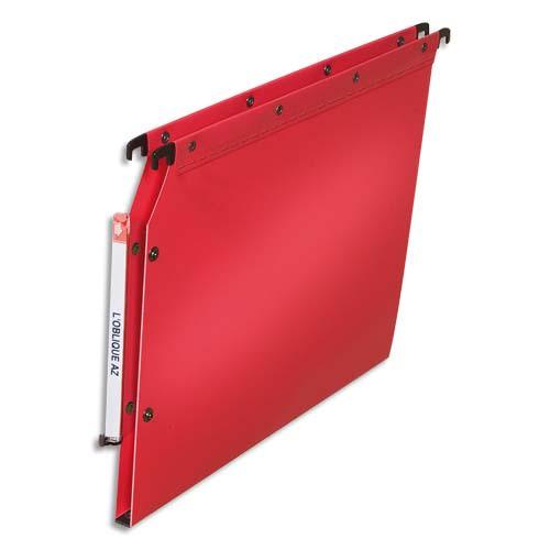 OBLIQUE AZ Paquet de 10 dossiers suspendus ARMOIRE en polypro opaque 5/10e.Fond 15 bouton-pression. Rouge photo du produit Principale L