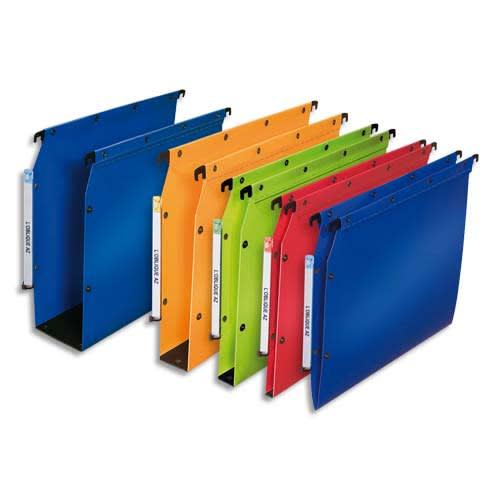 OBLIQUE AZ Paquet de 10 dossiers suspendus ARMOIRE en polypro opaque 5/10e.Fond 80, bouton-pression. Bleu photo du produit Principale L
