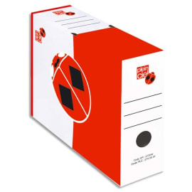 PLEIN CIEL Paquet de 10 boîtes à archives dos 10 cm, montage automatique. Carton Blanc liseret Rouge. photo du produit