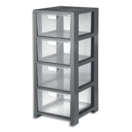 CEP Tour de rangement Gris transparent, 4 tiroirs - Dimensions : L32,5 x H77,6 x P35 cm photo du produit
