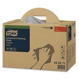 TORK Boîte distributrice de 280 Chiffons de nettoyage Industriel pliés Gris - Format : 42,8 x 35,5 cm photo du produit