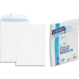 GPV Paquet de 10 pochettes velin Blanc fond Gris 90g auto-adhésives 162 x 229mm 6288 photo du produit