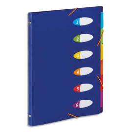 VIQUEL Trieur HAPPY FLUO PP 5/10e 6 touches, dos riveté et bloc perforé. Format A4. Coloris Bleu photo du produit