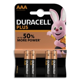 DURACELL Blister de 4 Piles Alcaline 1,5V AAA LR3 Plus Power 5000394018457 photo du produit