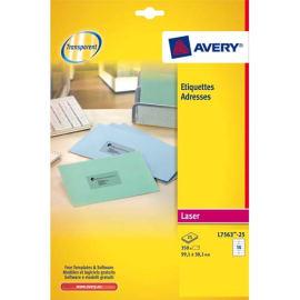 AVERY Pochette de 350 étiquettes Laser invisible 99.1X38.1 L7563-25 photo du produit