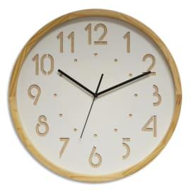 ORIUM Horloge OSLO à cadran Blanc et Chiffre en Bois, contour bois, mouvement Quartz, D41,6 cm x P4,5 cm photo du produit