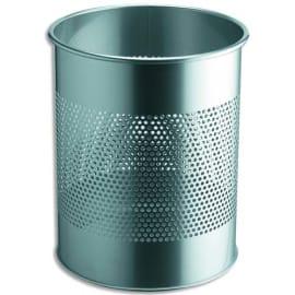 DURABLE Corbeille à papier ronde ajourée en métal - 15 litres - ø26 x H31,5 cm - Argent photo du produit