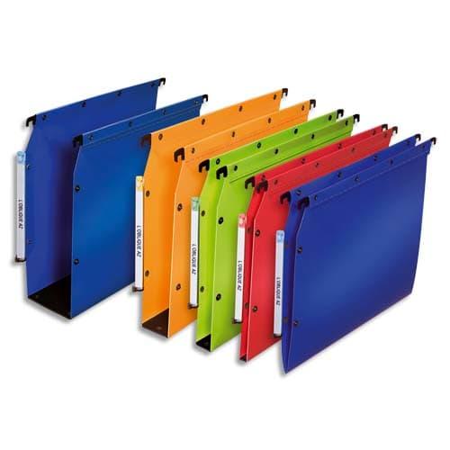 OBLIQUE AZ Paquet de 10 dossiers suspendus ARMOIRE en polypro opaque 5/10e.Fond 50, bouton-pression. Bleu photo du produit Principale L