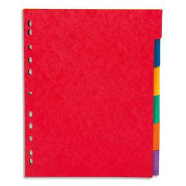 PERGAMY Jeu 6 intercalaires neutres 6 touches carte lustrée 225g. Format A4+. Coloris assortis vif photo du produit