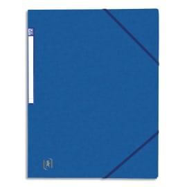 OXFORD Chemise simple à élastique TOP FILE, en carte lustrée 5/10e, 390g. Etiquette sur la tranche. Bleue photo du produit