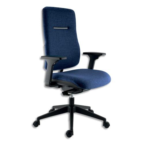 Siège Ergos haut dossier et assise en tissu Bleu, à mécanisme synchrone, accoudoirs 3D réglages fournis photo du produit Principale L