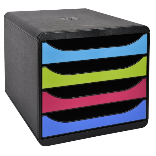 EXACOMPTA Big-Box 4 tiroirs pour documents au format A4+. Coloris Noir/1928 photo du produit Principale L