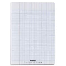 CONQUERANT C9 Cahier piqûre 17x22cm 96 pages 90g grands carreaux Séyès. Couverture polypropylène incolore photo du produit