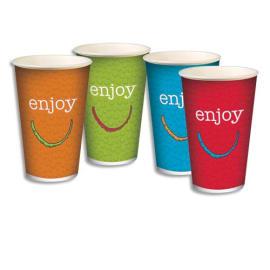 HUHTAMAKI Sachet de 100 gobelets 4 coloris 30cl boissons froides en carton épais - H. 11,75 cm Diam. 8 cm photo du produit