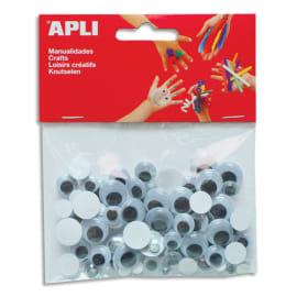 APLI Sachet de 100 yeux adhésifs ronds Noir sans cil diamètres assortis photo du produit