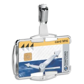 DURABLE Boîte de 10 Portes-cartes Anti RFIB Mono transparent, rigide, clip métallique L8,7 x H5,4 cm photo du produit