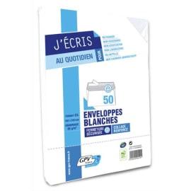 GPV Paquet de 50 enveloppes Blanches auto-adhésives 80 grammes format 162x229mm réf 528 photo du produit