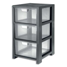 CEP Tour de rangement Gris transparent, 3 tiroirs - Dimensions : L32,5 x H59,5 x P35 cm photo du produit