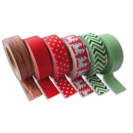 GRAINE CREATIVE Lot de 6 rubans adhésifs décorés thème Hiver assortis format 15 mm x 10 m photo du produit