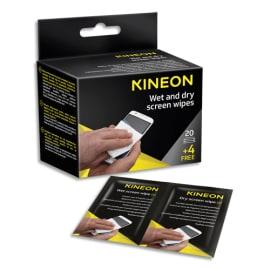 KINEON Boîte de 24 lingettes duo humides/sèches pour écrans (20 unités + 4 offertes) AMCA024KIN photo du produit