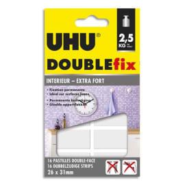 UHU Blister de 16 pastilles Double Fix ultra-fortes double-face 26 x 31 mm photo du produit