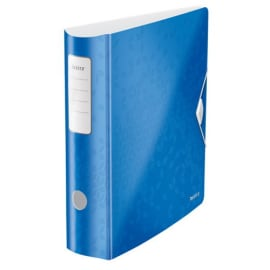 LEITZ Classeur à levier WOW 180° en polypropylène. Dos 75mm. Fermeture par élastique. Coloris Bleu. photo du produit