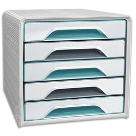 CEP Module de classement SMOOVE 5 tiroirs. Dim (lxhxp) : 36x27,1x28,8 cm. Coloris blanc et vert d'eau photo du produit