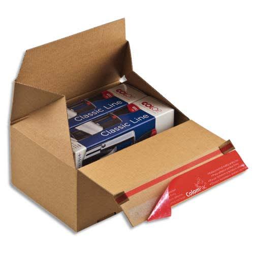 COLOMPAC Carton d'expédition Eurobox S Brun simple cannelure, fermeture adhésive L19,5 x H14 x P14,5 cm photo du produit Principale L