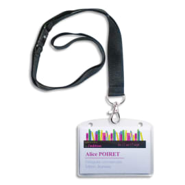 AVERY Boîte de 10 porte-badges 60 x 90 mm avec tours de cou Noirs + 16 inserts imprimables photo du produit
