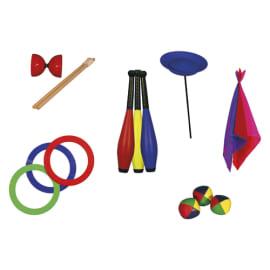 FIRST LOISIRS Kit jonglerie : 3 balles a grains, 3 anneaux, 3 foulards, 3 massues, 1 assiette, 1 diabolo photo du produit