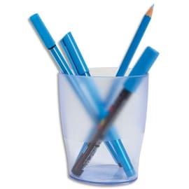 Pot à crayons ECO en polystyrène, Bleu translucide - Dimensions : L8 x H9,5 x P6 cm photo du produit