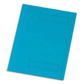 Paquet de 50 sous-dossiers imprimés en kraft 160gr à 2 rabats. Format 24x32cm. Coloris Bleu photo du produit