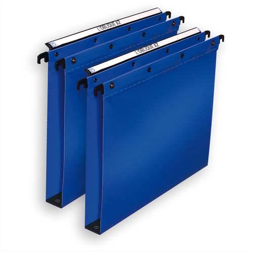 OBLIQUE AZ Paquet de 10 dossiers suspendus TIROIR en polypro opaque 5/10e. Fond 15, bouton-pression. Bleu photo du produit Principale L