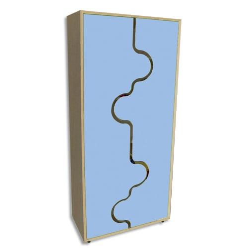MOBEDUC Armoire haute L80 x H180 X P40 cm, 4 tablettes, portes vague couleur Bleu lavande photo du produit Principale L