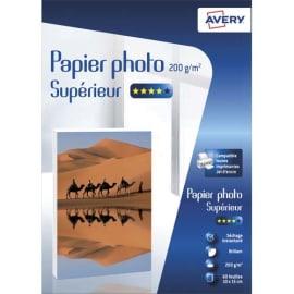 AVERY Boîte de 60 feuilles de papier photo brillant 10x15cm, Jet d'encre, 200g/m² photo du produit