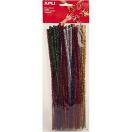APLI Sachet de 50 chenilles 30 cm, diam 6 mm, pailletées, couleur Bleu, Jaune, Rouge, or, argent photo du produit