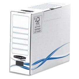 BANKERS BOX Boîte archives dos de 10cm BASIQUE, montage manuel, en carton Blanc/Bleu photo du produit