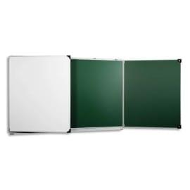 ULMANN Tableau triptyque en acier émaillé Vert Blanc, crochets, porte-accessoires, Ft L400 x H120 cm photo du produit