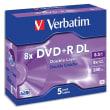 VERBATIM Pack de 5 DVD+R Dual Layer double couche / boîtier cristal 8,5GB 8x 43596 photo du produit