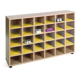 MOBEDUC Meuble à chaussures 30 cases 120 x 28 x 87 cm, Jaune photo du produit