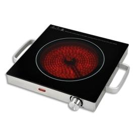 TEAM KALORIK Réchaud électrique avec plaque céramique Noir Inox, poignées, 2000W, D28 x H7,5 cm photo du produit