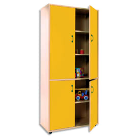 MOBEDUC Armoire haute L80 x H180 X P40 cm, 3 tablettes, 4 portes poignée couleur Jaune photo du produit