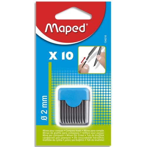 MAPED Blister étui de 10 mines de rechange pour compas pointe 2mm photo du produit Principale L