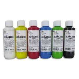 ART PLUS Coffret de 6 x 250ml acrylique brillante Blanc, Jaune, Rouge, Bleu, Vert, Noir photo du produit