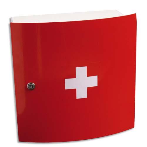 LABORATOIRES ESCULAPE armoire à pharmacie à 1 porte, design. Coloris Rouge. Dim. L32 x H32 x P15 cm photo du produit Principale L