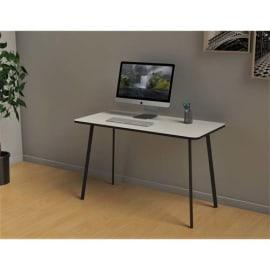 Bureau HOPM 100X50, plateau 19mm blanc, chant noir, pieds acier finnoir, pieds acier finition époxy noir photo du produit
