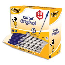 BIC Pack 90 stylos bille Cristal Bleu + 10 offerts. Pointe moyenne. photo du produit