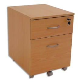 SIMMOB Caisson mobile 2 tiroirs Hêtre, dont 1 pour dossiers suspendus - Dimensions : L41 x H56 x P50 cm photo du produit