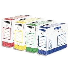 BANKERS BOX Lot 8 boîtes archives dos 10 cm HEAVY DUTY. Montage manuel, assortis Bleu, Rouge, Vert, Jaune photo du produit
